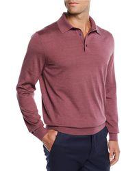 Ermenegildo Zegna - Men's Cashmere/silk Polo Sweater - Lyst