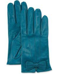 Portolano - Napa Leather Gloves W/ Perforated Bow - Lyst