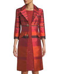 St. John - Metallic Striped Jacquard Topper Jacket - Lyst