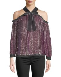 Needle & Thread - Kaleidoscope Sequin Velvet Cold-shoulder Top - Lyst