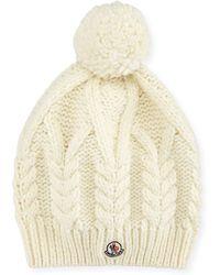 Moncler - Cable-knit Hat W/pompom - Lyst