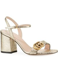 018000659f2 Marmont Leather GG Block-heel Sandals.  730. Bergdorf Goodman · Gucci -  75mm Marmont Metallic Sandal - Lyst