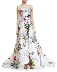 Monique Lhuillier - Ruffle-neck Floral-print Evening Gown With Train - Lyst