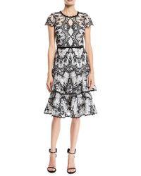Marchesa notte - Corded Lace Dress W/ Embroidery & Velvet Trims - Lyst