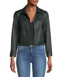 Theory - Shrunken Open-front Leather Jacket - Lyst