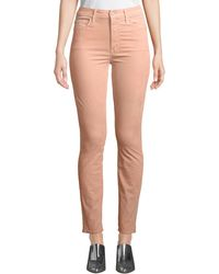 Mother - Looker Velour High-waist Skinny Ankle Jeans - Lyst