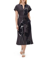 Lafayette 148 New York - Cosimia Portrait-print Short-sleeve Belted Drape Cloth Dress - Lyst
