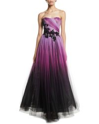 Pamella Roland - Floral-beaded Strapless Ombre-tulle Gown - Lyst