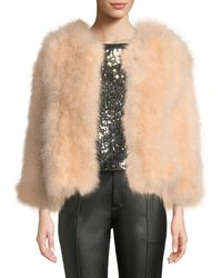 Belle Fare - Knit Ostrich Feather Jacket - Lyst