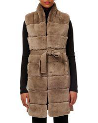 Gorski - Belted Reversible Rabbit Fur Vest W/ Wool Back - Lyst