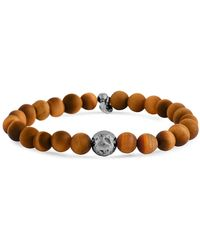 Tateossian - Tiger's Eye Bead And Sterling Silver Bracelet - Lyst