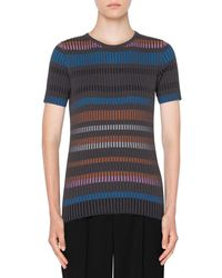 Akris Punto - Short-sleeve Fitted Striped Wool Sweater - Lyst