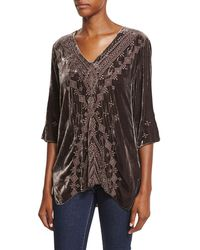 Johnny Was - Shobah 3/4-sleeve Embroidered Velvet Tunic - Lyst