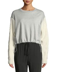 3.1 Phillip Lim - French Terry Crewneck Sweatshirt With Cable-knit Sleeves - Lyst