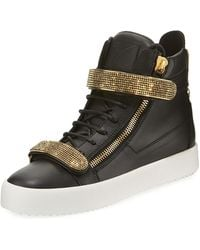 Giuseppe Zanotti - Men's Double Nailhead-bar High-top Leather Sneakers - Lyst