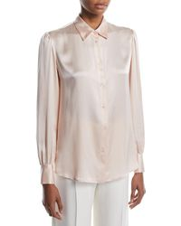 Loro Piana - Noah Button-front Long-sleeve Silk Satin Blouse - Lyst