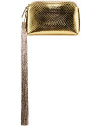 The Row   Mini Metallic Snakeskin Tassel Wristlet Wristlet Clutch Bag   Lyst