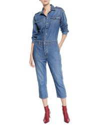 42fc187754a9 Current Elliott - The Crew Coverall Cropped Denim Jumpsuit - Lyst