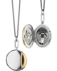 Monica Rich Kosann - Silver & 18k Yellow Gold Round Locket Necklace - Lyst