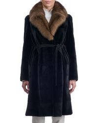 Gorski - Belted Sheared Horizontal Mink Coat With Russian Sable Collar - Lyst