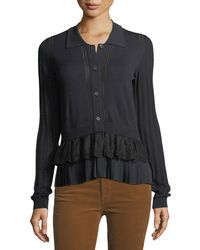 N°21 - Button-front Long-sleeve Mixed-knit Top With Chiffon Ruffle - Lyst
