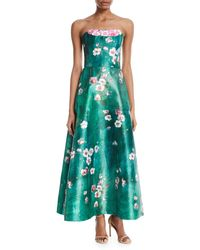THEIA   Cherry Blossom Crumb-catcher Strapless Gown   Lyst