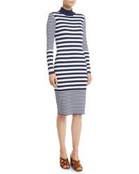 MICHAEL Michael Kors - Mock-neck Striped Bodycon Dress - Lyst