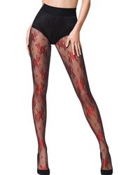 Wolford - Lea Metallic Floral-pattern Tights - Lyst
