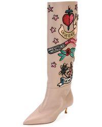 Valentino - Loveblade Twist-heel Embellished Knee Boot - Lyst