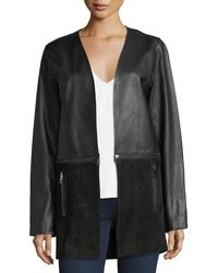 J Brand - Emory Open-front Zip-off Leather & Suede Jacket - Lyst