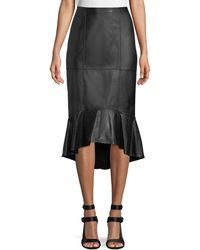 Alice + Olivia - Kina Leather Midi Pencil Skirt W/ Flounce Hem - Lyst