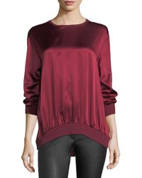 ESCADA - Crewneck Long-sleeve Satin Sweatshirt - Lyst