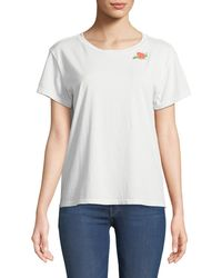 Mother - Goodie Goodie Short-sleeve Boxy Cotton Tee W/ Embroidery - Lyst