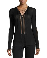 Roberto Cavalli | Laced V-neck Sheer-panel Sweater | Lyst