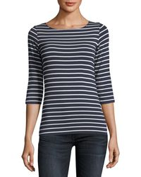 Neiman Marcus - 3/4-sleeve Soft-touch Striped Top - Lyst