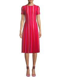 a64e477a181 Carolina Herrera - Short-sleeve Striped Knit Pleated Dress - Lyst