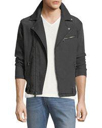 John Varvatos - Denim Asymmetric-zip Moto Jacket - Lyst