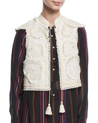 Figue - Manolete Beaded Embroidered Cropped Vest - Lyst