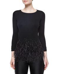 Carolina Herrera - Feather Trimmed Knit Top - Lyst
