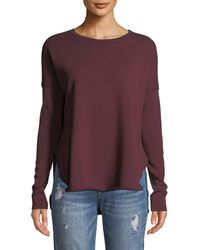 Frank & Eileen - Long-sleeve High-low Cotton Fleece Sweatshirt - Lyst