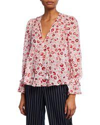 1234000de4dfa Lyst - Joie Amarant Floral-print Long-sleeve Silk Blouse in Pink