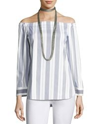Lafayette 148 New York - Natayla Striped Stretch-cotton Off-the-shoulder Blouse - Lyst