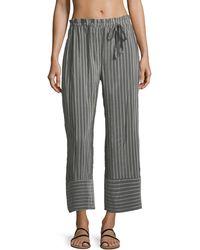 lila.eugénie - Jesi Striped Wide-leg Ankle Cotton-silk Coverup Pants - Lyst