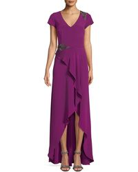 David Meister - Bead Embellished Gown W/ Asymmetric Slit - Lyst