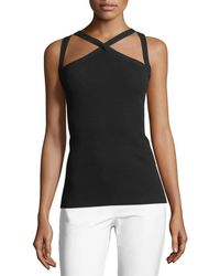 Michael Kors - Cross-front Fitted Halter Top - Lyst