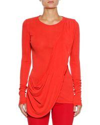 Unravel - Long-sleeve Draped Silk Tee - Lyst