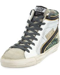 380f761906f Golden Goose Deluxe Brand - Slide High-top Glitter   Leather Sneakers - Lyst
