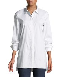 7c0c4a371d6e4 Lyst - Lafayette 148 New York Trinity Stanford Stripe Blouse With ...