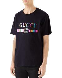 79b03b0c05a5 Gucci - Men's Metallic Rainbow Logo Graphic T-shirt - Lyst
