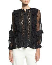 Oscar de la Renta - Lace-trim Balloon-sleeve Silk Shirt - Lyst